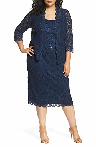 Alex Evenings womens Plus Size Tea Length Lace and Jacket Special Occasion Dress, Navy, 14 Plus