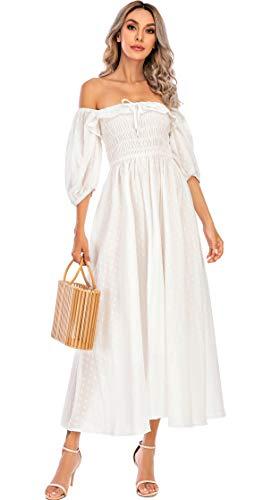 R.Vivimos Women Summer Half Sleeve Cotton Ruffled Vintage Elegant Backless A Line Flowy Long Dresses (Medium, White#1)