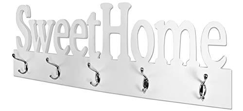 Haku Möbel Wandgarderobe - MDF weiß lackiert mit 5 Haken Breite 74 cm