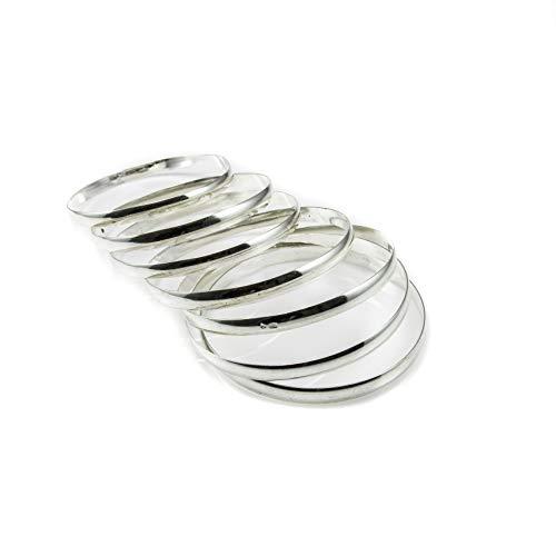 Minoplata Juego de Pulseras Semanario media caña lisa de Plata de ley 5 Mm. ancho y 70 Mm. diámetro preciosas para una mujer sofisticada