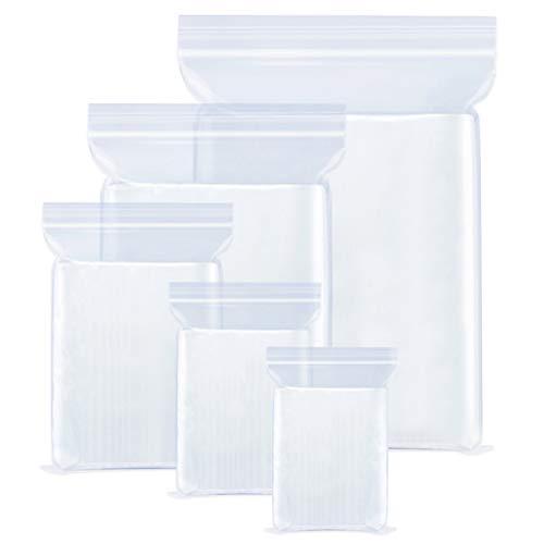 Bolsas de plástico resellables,Bolsas de Plástico Transparente,5 tamaños bolsa sellada,El apretón se puede sellar,para Gallete Chocolate Cuentas Joyería etc