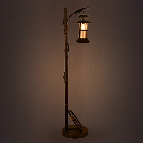 WYHYQY Industriebodenleuchte mit verstellbarem Cage Shade, Rustikal Stehlampe Brushed in Rötlich Bronze-Finish, Laterne Stehlampe für Wohnzimmer, Schlafzimmer, Büro