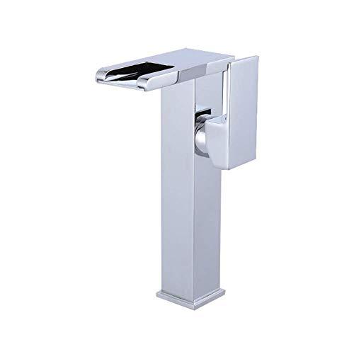 Grifo del lavabo del baño, grifo de lavabo con luz LED seleccionado con sensor de temperatura Energía hidroeléctrica Grifo monomando para lavabo Casquillo de latón (Tamaño: H27.5cm)