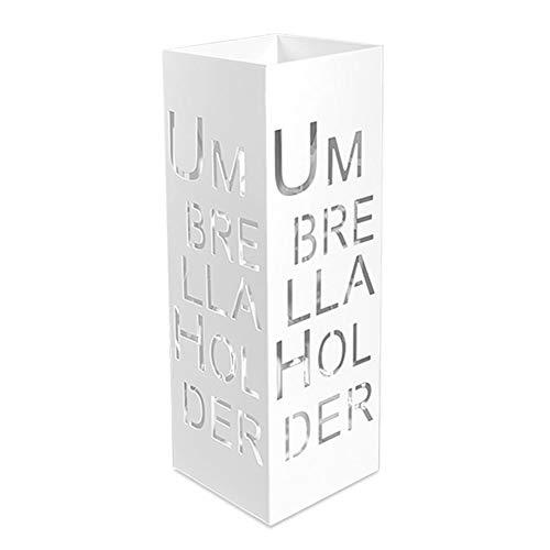 Paragüero Paragüero Cuadrado de Metal para Interior y Exterior, Paragüero de Gran Capacidad con Patrón de Letras Ahuecadas (Color : White)