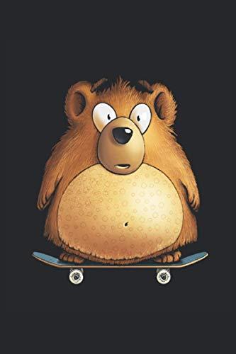 Teddybär Grizzly auf Skateboard Notizbuch: Schulheft •Format: A5 (6x9 Zoll) • 110 Seiten • Liniert • Mit Seitenzahlen • Tagebuch • Notizheft • Hausaufgabenheft • Original FD-DESIGN