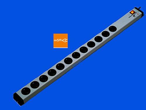 VARIO® LINEA 12-Fach-Steckdosenleiste mit Überspannungsschutz + Netzfilter + Zentral-Hauptschalter | mit 5 m-Zuleitung-Kabel