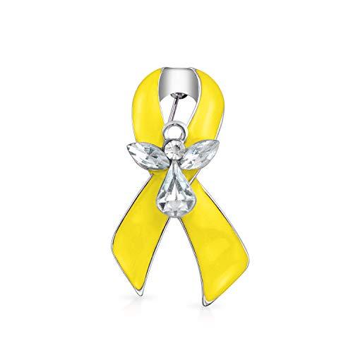 Bling Jewelry Cinta Amarilla para la Conciencia de la Infancia, Hueso, vesícula cáncer guardián Angel Cristal Broche Solapa Pin para Las Mujeres Esmalte Plata Chapado