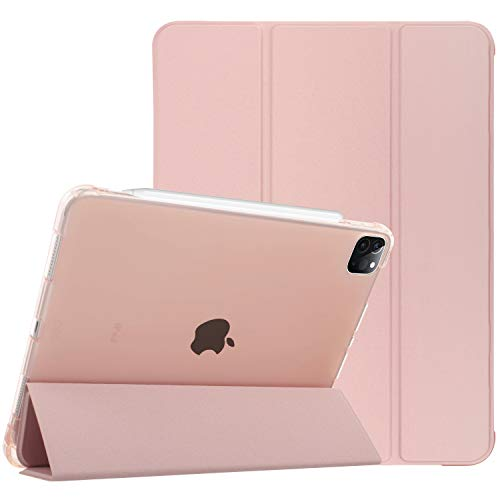 Sevrok iPad Pro 11 Case 2020 & 2018, Smart Slim Lightweight Trifold Stand Protective Cover Shell, with Apple Pencil Holder Support iPad Pencil Charging, Auto Wake/Sleep Featured (Rose Gold)