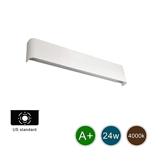 Ralbay Modern Vanity Light 24W Natural White 4000K LED Wall Sconce for Bathroom Bedroom Corridor Stairs Indoor Wall Lamp Not Dimmable