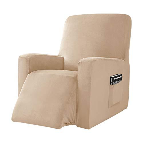 YRRA Super weich Samt Sofabezug, Plüsch Couchbezug Waschbar Sofa Schutzhülle mit Seitentasche, für die Meisten Arten von Liegen,Beige