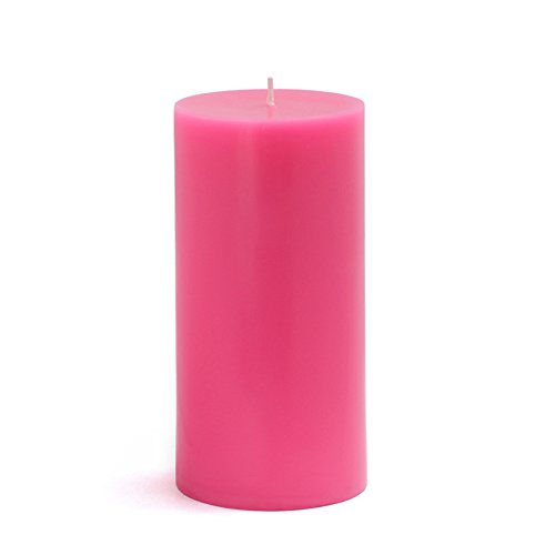 Zest Candle CPZ-084_12 12-Piece Pillar Candle, 3' x 6', Hot Pink