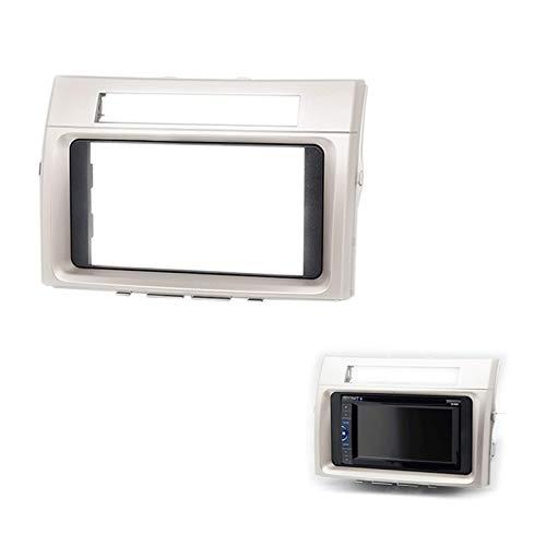 Mascherina per autoradio 2DIN CD/DVD per Toyota Corolla Verso 2004-2009 con pannello circondato da cruscotto (argento)