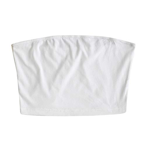 ZAFUL Women Bandeau Tank top Solid Plain Basic Stretchy Tube Top White S