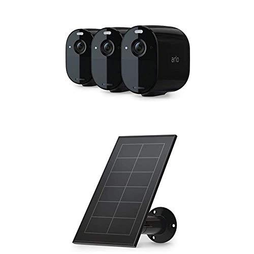 Arlo Solarpanel Ladegerät und Essential Spotlight Überwachungskamera 3er Set Bundle - schwarz