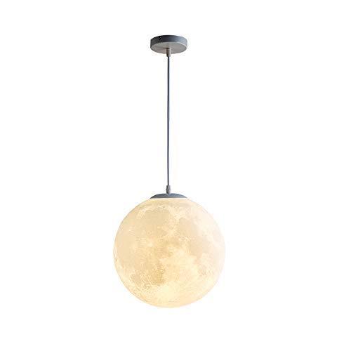 Luna Lampadario Stampa 3D Luna Sfera Rotonda Arte Moderna Lampadari Illuminazione Lampada a Sospensione Luna Camera da Letto Sala da Pranzo Bambini Balcone Lampada a Sospensione Creativa (D 35CM)