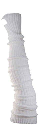 Damen Stulpen Formstabil Weiss 72cm 1 Paar Beinwärmer Extralang Oberschenkel / Overknee - Ballettstulpen Fersenloch