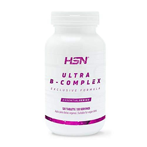 Vitamina B de HSN Essentials | Ultra B Complex | Vitaminas del grupo B: B1, B2, B3, B5, B6, B12, Biotina, Ácido Fólico, Inositol y Colina, Apto Vegano, Sin Gluten, Sin Lactosa, 120 tabletas