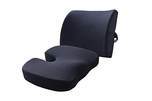 Cushion Car Seat Cushion_cushion Memory Foam Lumbar Cushion Set Office Lumbar Pillow Car Car Office-sapphire Cushions (Color : Black)