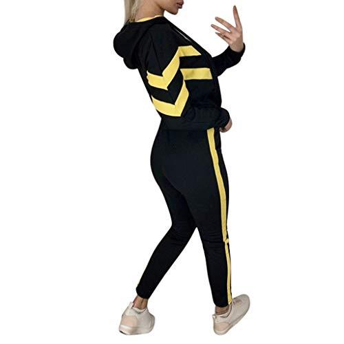 Cinnamou Survêtement Femme Ensemble Sport Sweat-Shirt Court Filles Ados et Pantalons Leggings Slim Fit Tracksuit Outwear Port Ensemble Gym Yoga Jogging Suit