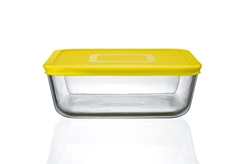 Pyrex Cook n Fresh - Square Storage Dish with Yellow Plastic Lid - 2.0L (Dimensions: L20 x W20 x H 7.5 cm)