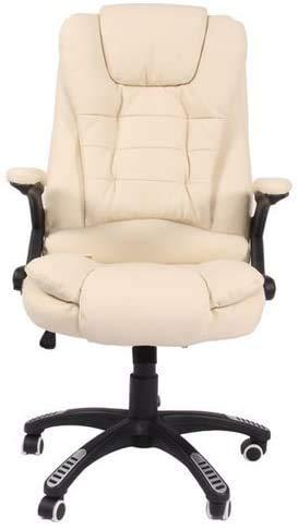Liegender erhitzten Massagesessel mit Leder Lounge Sofa Stuhl elektrischen Massagestuhl Home-Office,White