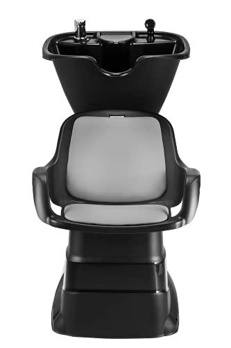 DOMPEL Champ - Lavatesta con poltrone, reclinabile, per salone parrucchiere, barbieri (nero/grigio) - Made in Brasile - Modello esclusivo
