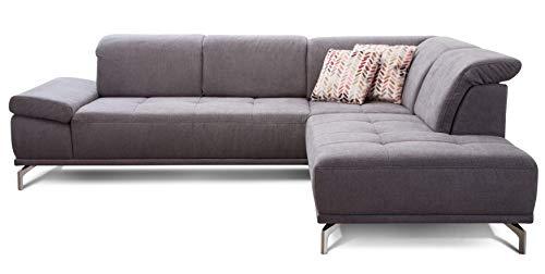Cavadore Ecksofa Carly mit Federkern, L-Form Sofa mit Kopfteilfunktion und Sitztiefenfunktion im Design, 273 x 81 x 234, Webstoff grau