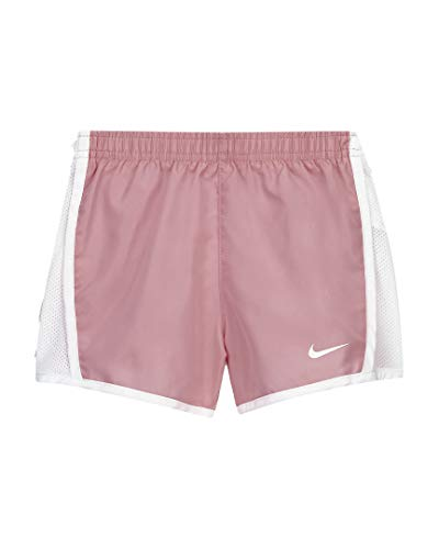 Nike Girl`s Dri FIT Printed Tempo Running Shorts (Pink(327358-A8F)/White, 6)