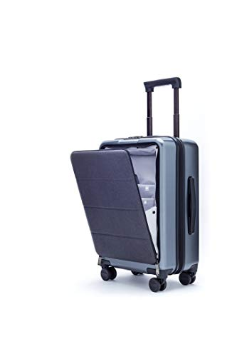 NINETYGO 20 Inch Carry On 100% Polycarbonate Hardside Luggage With IPX4 Waterproof Front Open Cover, TSA Approved Lock Suitcase for Business & Travel, Silent 360° Rolling Spinner Wheels, Grey