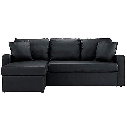BHDesign Sasha – Sofá de esquina convertible reversible de 4 plazas, piel sintética, color negro