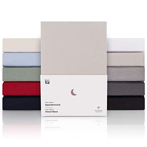 Blumtal Premium 2er Set Spannbettlaken 180x200cm - Superweiches 100% Baumwolle Spannbetttuch, bis 25cm Matratzenhöhe, Moonlight Grau