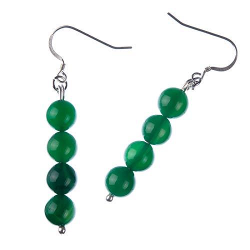 Pendientes de bolas de ágata verde 8 mm y plata 925