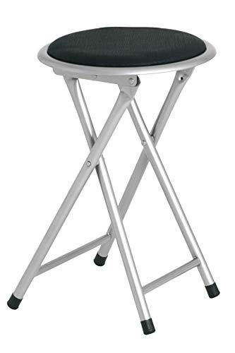 2er Set Klappstuhl Klapphocker Faltstuhl Gästestuhl Stuhl aus Metall Silber mit schwarzem/weißem oder grünen PVC Sitz Gepolstert 30x30x45 cm (Schwarz)