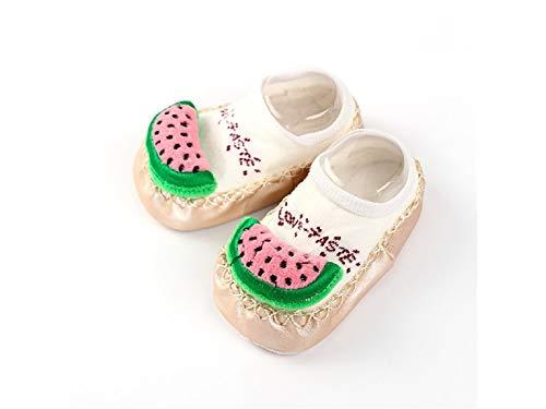 Bébé Cadeau doux enfants Coton Chaussettes enfants Printemps Coton Fruits figurine antidérapant Chaussettes de sol (Kaki)
