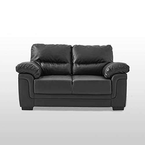 Panana 2 Seater Faux Leather Sofa Modern Jumbo Cord Couch Lounge Settee for Home Living Room Furniture Black