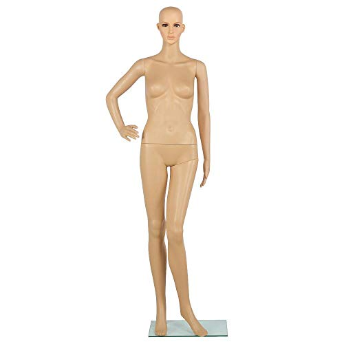 Yaheetech Adjustable Full Body Realistic Female Mannequin for Display Head Turns Dress Form with Stable Glass Base 68.9in Height