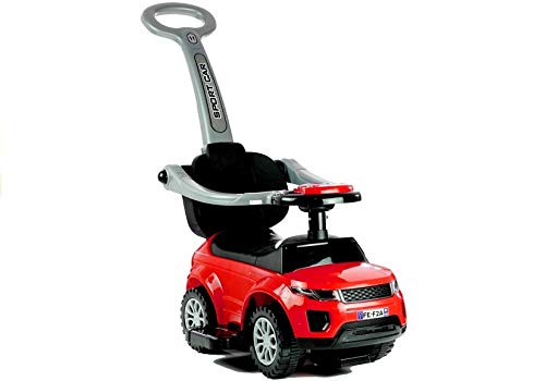 Lean Toys Rutschauto mit der Schiebestange 614W Rot Rutscher Rutschfahrzeug Babyrutscher