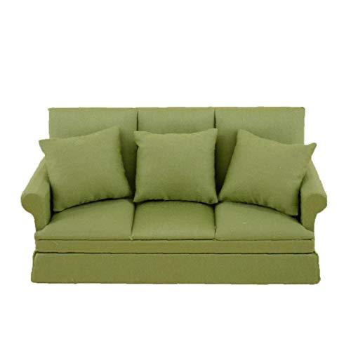 1:12 Escala linda Tela de tres personas del sofá Casa de muñecas con 3 almohadas miniatura Muebles de madera hecho a mano Couch Manualidades ninguna escena Dollrooms Vida Decoración Verde 1 Set