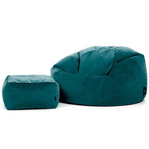 """Icon Klassischer Sitzsack """"Milano"""" und Hocker, Blaugrün, 85cm x 50cm, Sitzsäcke für das Wohnzimmer, Groß, Plüschsamt"""