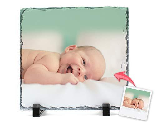 Portafotos Pizarra Personalizado con Tus Fotos y Texto | Diseña un portafotos con Tus Mejores diseños e imágenes | Tamaño 19x19 cm