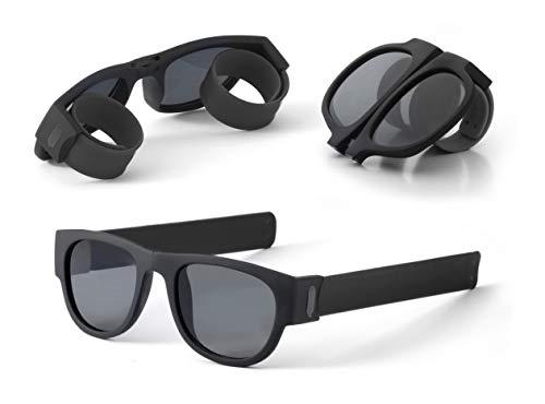 Unisex-Sonnenbrille, faltbar, UV400-Schutz, robust und langlebig, ideal für Fahren, Reisen, Strand, Berg, Sport, Partys, Schwarz