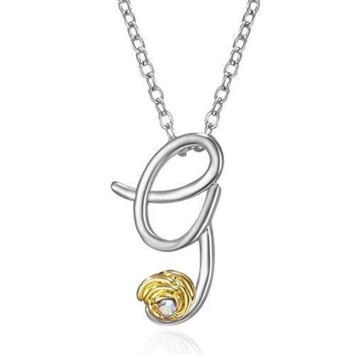 XIANGDONG Briefanhänger Halskette, Halskette, kreative Mode Anhänger Halskette, Retro englische Brief Halskette, versilberte Halskette, Unisex Halskette