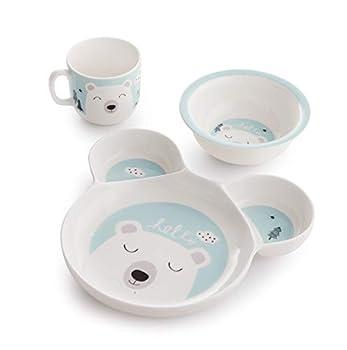 ZEN Hello Hello Porcelain Childrens Kids Dinner Set of 3  BLUE