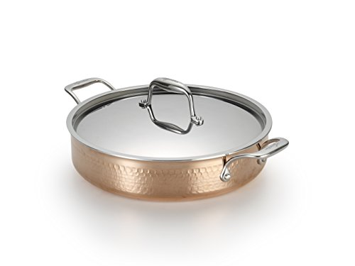 Lagostina Q5544764 Martellata Tri-ply Hammered Stainless Steel Copper Dishwasher Safe Oven Safe...