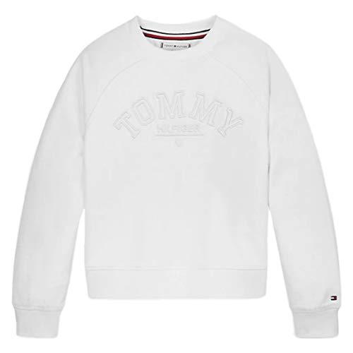 Tommy Hilfiger Mädchen Tonal Embroidered Graphic Crew Sweatshirt, Weiß (White Ybr), 11-12 Jahre (Herstellergröße: 12)