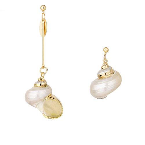 Haptian Oor Clip, Gouden Natuurlijke Oceaan Seashell Bank Zee Heks Drop Dangle Oorbellen Vrouwen Sieraden