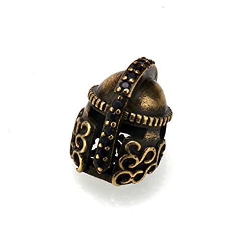 5 cuentas de paracaídas perfectas para hacer joyas de oro, vintage, cuentas Sparta de cobre y bronce para accesorios de pulsera de supervivencia, gran agujero (color: oro antiguo AC1879)