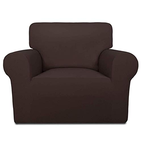 INMOZATA Armchair Covers 1 Piece Polyester Spandex Elastic Armchair Slipcovers Protector, Washable (Brown)