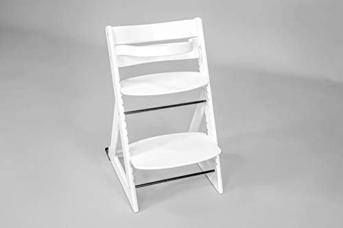 Wooden Adjustable High Chair for Babies, Toddlers, Children and Adults (White)