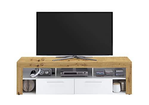FMD furniture Lowboard, Holzwerkstoff, Artisan Eiche/Weiß, ca. 180 x 53 x 40 cm